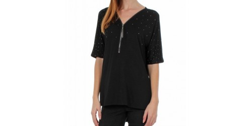 TEE-SHIRT ZIP ET STRASS